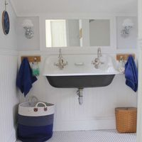 Farmhouse boys bathroom brockway sink sherwin williams spatial white white bead board ceiling and walls 2 682x1024