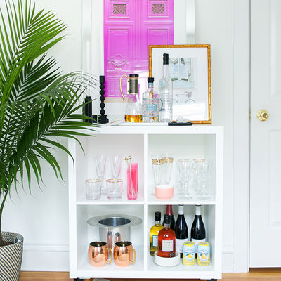Everygirl ikea expedit shelf bar styling